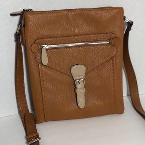 "Handbags - ""C"" Crossbody Purse Tan and Cream Multi Compartmen"